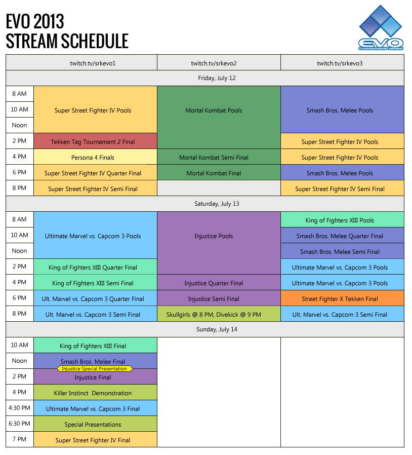 Credit to shoryuken.com for the schedule.