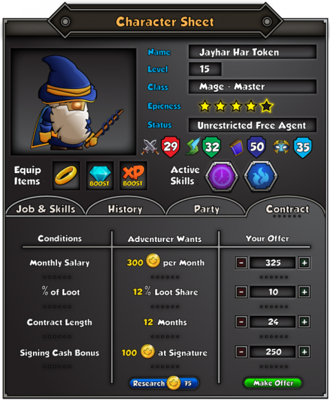 In addition to long-term heroes players can hire mercenaries for quick jobs, but be warned: their costs are high, and their loyalty questionable.