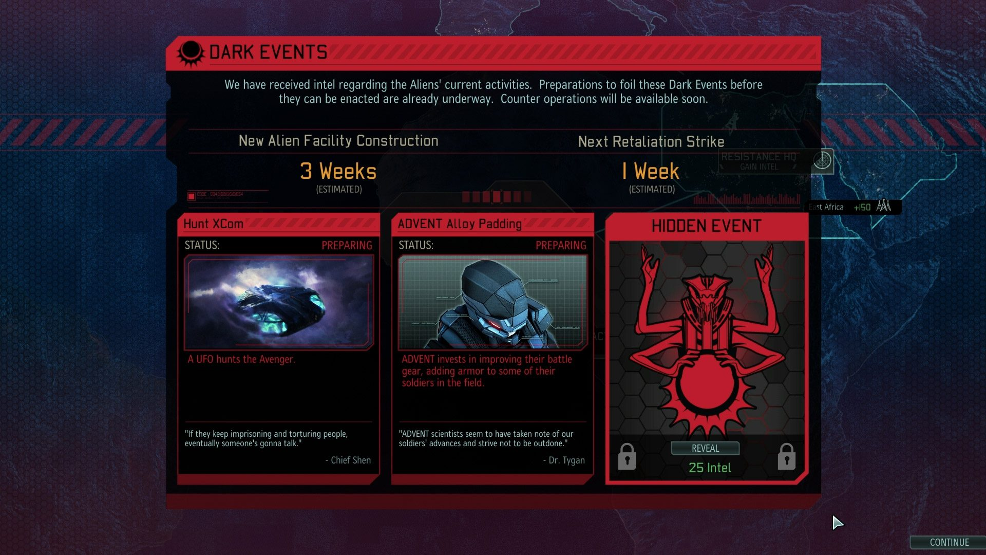A screenshot of how the Dark Events will appear in the game's Strategy Layer.