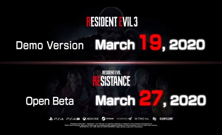 Resident Evil 3 Remake Demo Arrives March 19, Resistance Open Beta on March 27